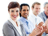 A diverse business group clapping a good presentation — Stock Photo