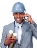 Confident male architect on phone — Stock Photo