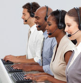 Customer business representatives at their computer — Stock Photo