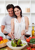 Portrait of a happy couple cooking — Stock Photo