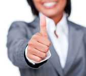 Close-up of a businesswoman with thumb up — Stock Photo