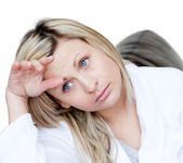 Tired woman thinking — Stock Photo