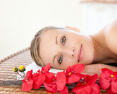 Radiant woman relaxing in a Spa center — Stock Photo