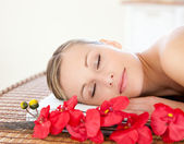 Beautiful woman relaxing in a Spa center — Stock Photo