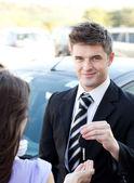 Confident businessman meeting his colleague — Stock Photo