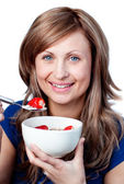 Cute woman having a healthy breakfast — Stock Photo