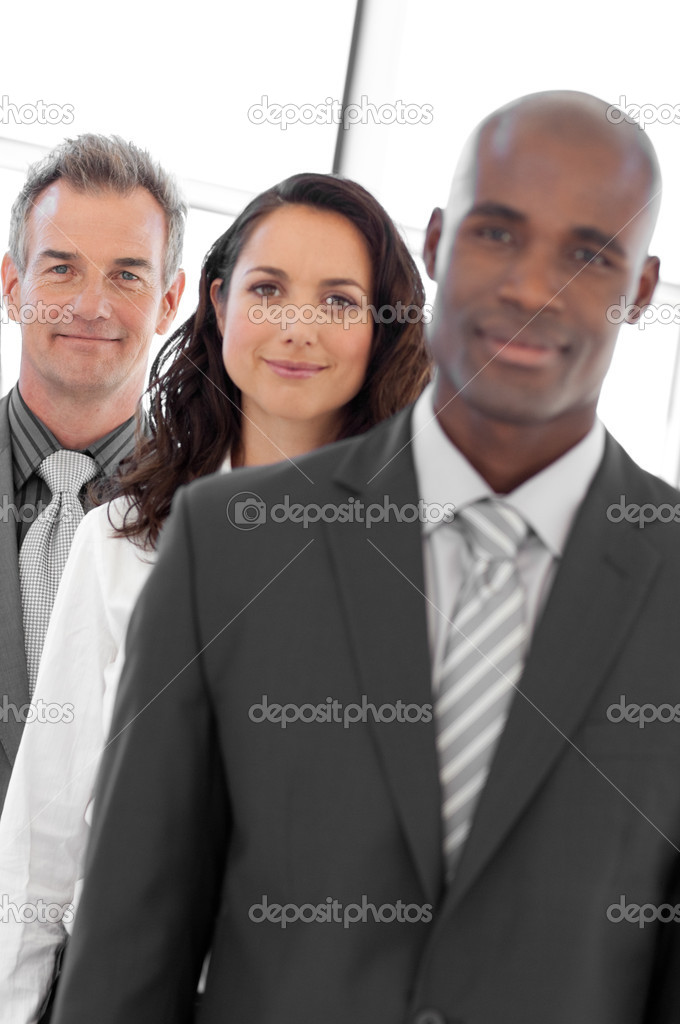 Multi-ethnic Businessgroup looking at camera — Stock Photo #10310673