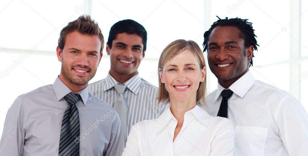 Portrait of an international business team smiling at the camera — Stock Photo #10311325