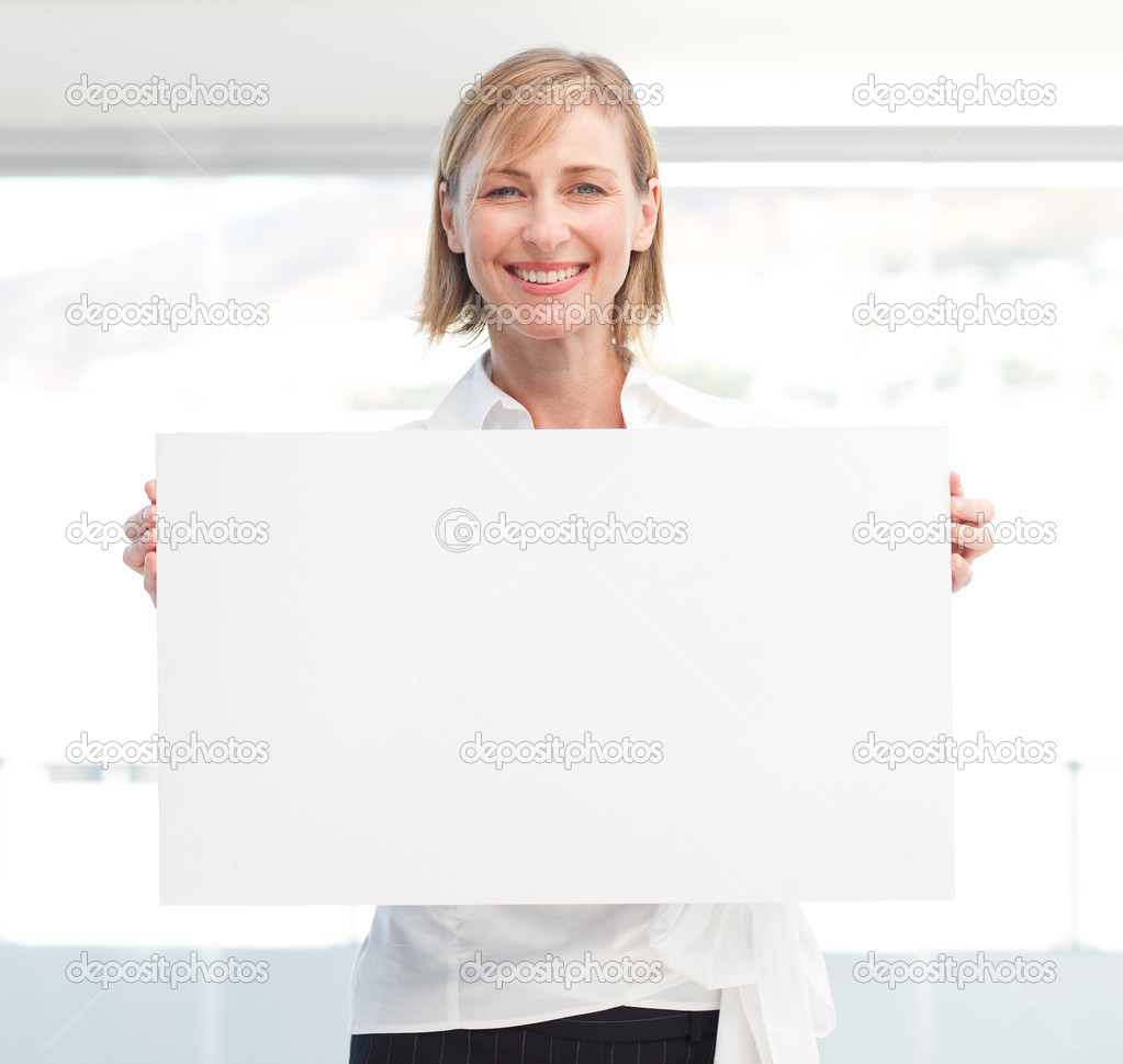 Business woman handing a blank card — Stock Photo #10312390