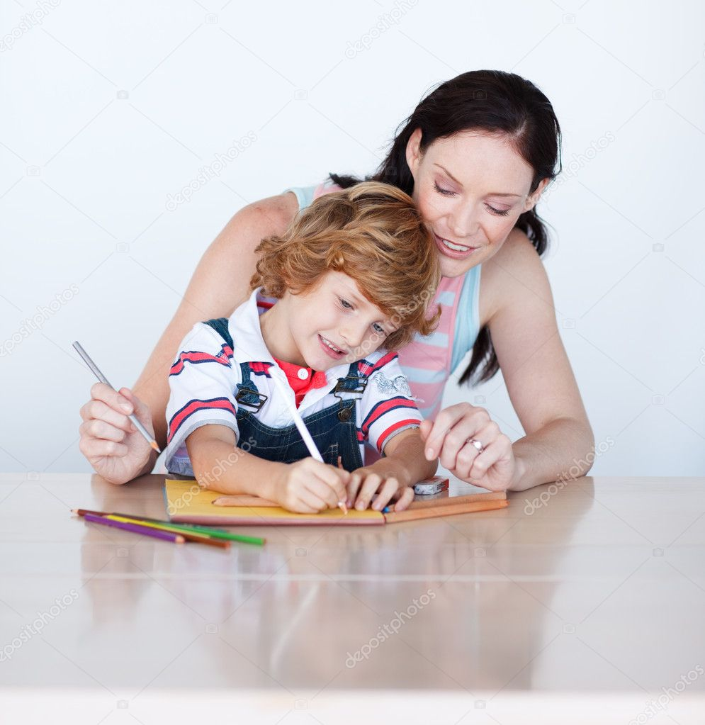son and mother drawing together stock photo acirc copy wavebreakmedia son and mother drawing together stock photo 10312646