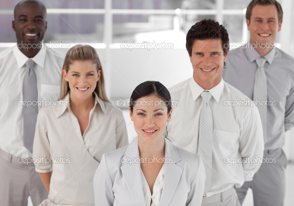 Young Smiling positive diverse busines Group — Stock Photo #10313185