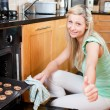 Cute housewife preparing cookies — Stock Photo