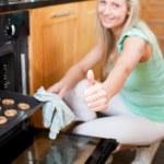 Bright housewife preparing cookies — Stock Photo #10320638