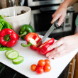 Close-up of beautiful wompreparing salad — Stock Photo #10320653