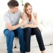 Stressed couple having an argue together — Stock Photo
