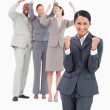 Successful saleswoman with cheering team behind her — Stock Photo