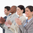 Side view of applauding salesteam — Stock Photo