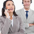 Stock Photo: Call center agents standing together