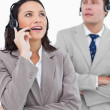 Stock Photo: Call center agents at work