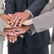 Hands of businesspeople together — Stock Photo