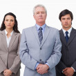 Mature businessman standing with his colleagues — Stock Photo