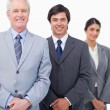 Stock Photo: Smiling mature businessmwith young employees