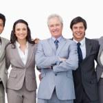 Successful senior businessman with his team — Stock Photo