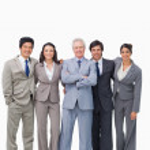 Successful senior salesman with his team — Stock Photo