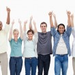 Stock Photo: Raising their arms with thumbs-up