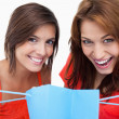 Two teenage girls holding a purchase bag while smiling - Stock Photo