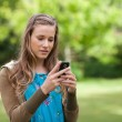 Serious teenage girl sending a text while standing in a park — ストック写真