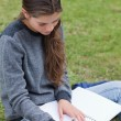 Stock Photo: Young serious girl doing her homework while sitting on the grass