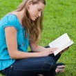 Serious young girl reading book while sitting in park — Foto Stock #10328412