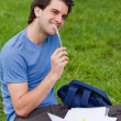 Foto de Stock  : Young smiling mworking while sitting on grass