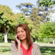 Stock Photo: Woman smiling while making a phone call in and area surrounded b