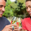 Two friends smiling as they touch glasses of champagne together — Stock Photo #10329045