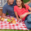Two friends holding glasses while looking ahead during a picnic — Stock Photo