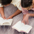 Elevated view of two friends reading while on a blanket — Stock Photo #10329455