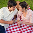 Two friends smiling towards each other during a picnic — Stock Photo