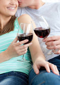 Close-up of a young couple drinking red wine — Stock Photo