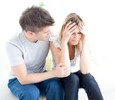 Tired couple having an argue together — Stock Photo