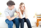 Exhausted couple having an argue together — Stock Photo