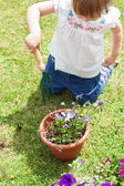 Little girl with a flowerpot — Stock Photo