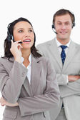Call center agents standing together — Stock Photo