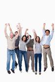 Cheering group jumping — Stock Photo