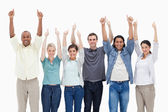 Raising their arms with the thumbs-up — Stock Photo