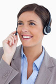 Close up of female call center agent with headset — Stock Photo