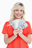 Young attractive woman holding dollar notes in a fan shape — Стоковое фото