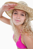 Attractive blonde teenager trying to look far ahead — Stock Photo