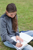 Young serious girl doing her homework while sitting on the grass — Stock Photo